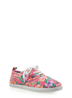 Girls Tropical Print Tennis Sneakers - 1737062720034