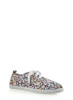 Girls Floral Lace Up Tennis Sneakers - 1737062720035
