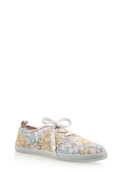 Girls Floral Lace Up Tennis Sneakers - 1737062720036