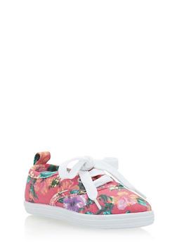 Girls 11-4 Floral Tennis Sneakers - 1737062720037