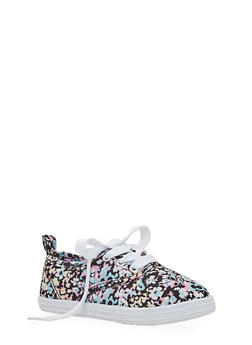 Girls Abstract Floral Tennis Sneakers - 1737062720038