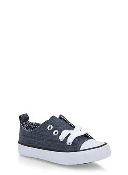Girls 6-11 Denim Low Top Sneakers with Floral Double Tongue - 1737062720043