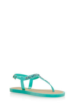 Girls 11-4 Glitter T Strap Jelly Sandals - 1737062720047