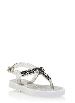Girls 6-11 Glitter T Strap Jelly Sandals - 1737062720049