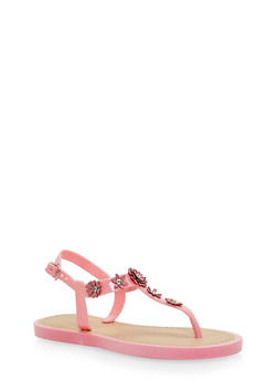 Girls 11-4 Flower Studded T Strap Jelly Sandals - 1737062720054