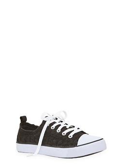 Girls Canvas Crochet Sneakers - 1737062720063