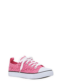 Girls Crochet Canvas Low Top Sneakers - 1737062720064