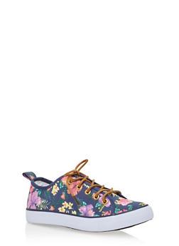 Girls Low Top Floral Sneakers - 1737062720066