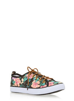 Girls Floral Lace Up Sneakers - 1737062720067