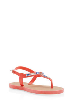 Girls 12-4 Rhinestone Jelly T Strap Sandals - 1737062720076