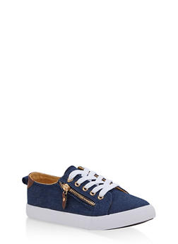 Girls 12-4 Side Zip Lace Up Sneakers - DENIM - 1737062720080