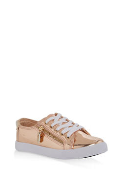 Girls 12-4 Side Zip Lace Up Sneakers - ROSE - 1737062720081