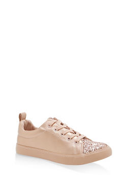 Girls 11-4 Glitter Detail Lace Up Sneakers - ROSE - 1737062720088