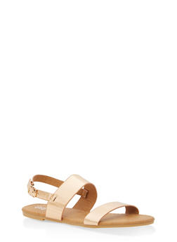 Girls 11-4 Faux Patent Leather Strap Sandals - 1737064790020