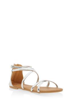 Girls 11-4 Metallic Strap Sandals - 1737064790023