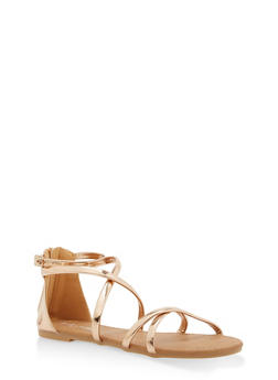 Girls 11-4 Metallic Strap Sandals - 1737064790023