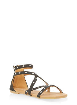 Girls 11-4 Studded Faux Leather Sandals - 1737064790025