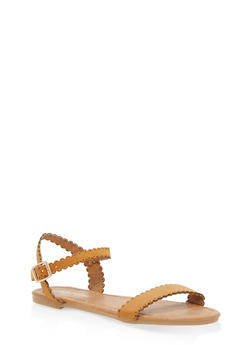 Girls 11-4 Scalloped Strap Sandals - TAN - 1737064790060