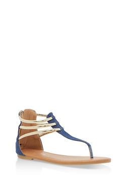 Girls 11-4 Metallic Strap Thong Sandals - 1737064790063