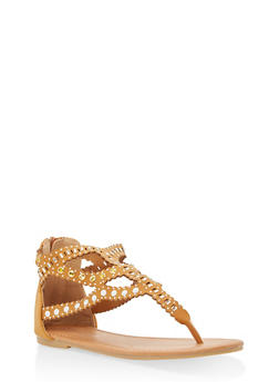 Girls 11-4 Studded Thong Sandals - 1737064790076