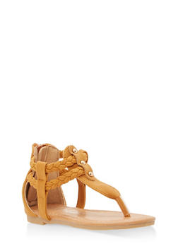 Girls 5-10 Faux Suede Braided Thong Sandals - 1737064790083