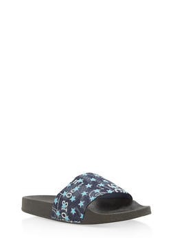 Girls 11-4 Star Printed Denim Slides - 1737064790091