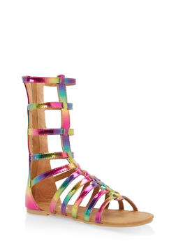 Girls 11-4 Tall Strappy Gladiator Sandals - MULTI COLOR - 1737064790093
