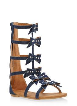 Girls 11-4 Studded Bow Gladiator Sandals - 1737064790094