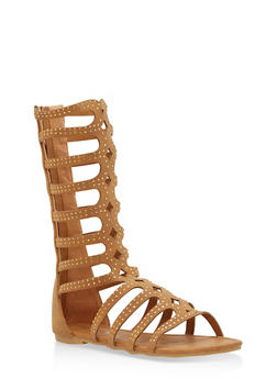 Girls 11-4 Rhinestone Studded Gladiator Sandals - 1737064790095