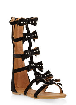 Girls 11-4 Studded Velvet Bow Gladiator Sandals - 1737064790101