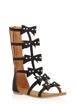 Girls 11-4 Faux Pearl Studded Gladiator Sandals - 1737064790102