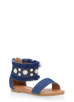 Girls 5-10 Faux Pearl Studded Denim Sandals - 1737064790119