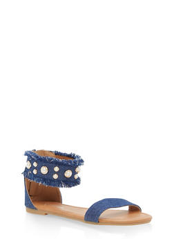 Girls 11-4 Faux Pearl Denim Sandals - 1737064790120