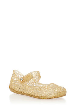 Toddlers Gold Caged Jelly Mary Jane Flats - 1737065690021