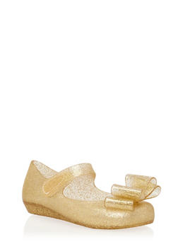 Girls 6-10 Gold Bow Jelly Mary Jane Flats - 1737065690025