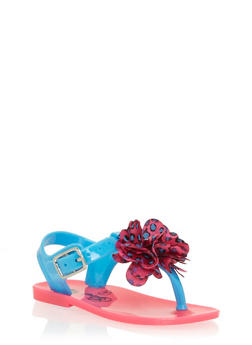 Girls Teal and Pink Thong Jelly Sandals with Flower - 1737065690044