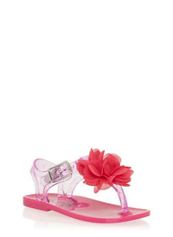 Girls Neon Pink Glitter T Strap Jelly Sandals with Flower - 1737065690071