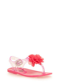 Girls 6-10 T Strap Jelly Sandals with Flower Detail - 1737065690097