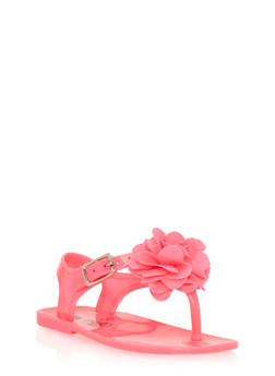Girls Neon Pink Thong Jelly Sandals with Flower Detail - 1737065690125
