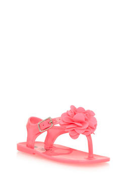 Girls Pink Thong Jelly Sandals with Flower - 1737065690126