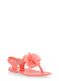 Girls Coral Flower Thong Jelly Sandals - 1737065690131