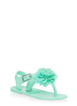 Toddlers 6-10  Aqua Jelly Thong Sandals with Flower - 1737065690167