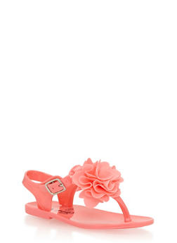 Girls 6-10 Coral Jelly Thong Sandals with Flower - 1737065690183