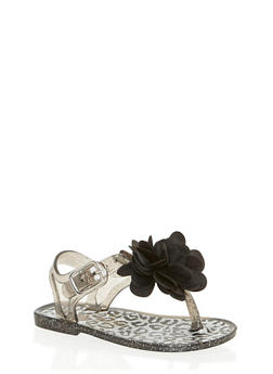 Girls Flower T Strap Jelly Sandals - 1737065690222
