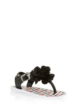 Toddlers 6-10 Black and White Floral Thong Jelly Sandals - 1737065690225