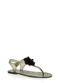 Girls 11-3 Black Glitter Leopard Jelly Thong Sandals with Flower - 1737065690234
