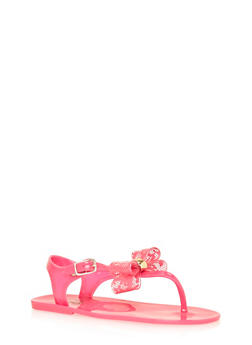 Girls 11-3 Pink Bow Thong Jelly Sandals - 1737065690236