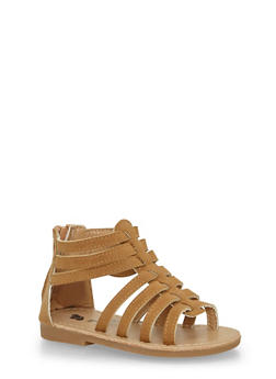 Girls Chestnut Gladiator Zip Back Sandals - 1737065690243