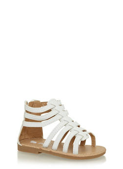 Girls White Caged Gladiator Sandals - 1737065690244