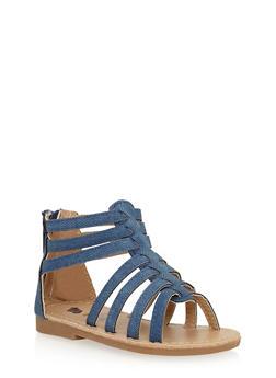 Girls Denim Caged Gladiator Sandals - 1737065690245